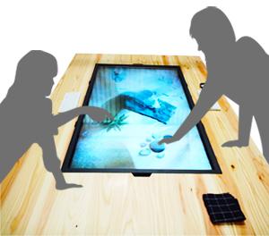 カスタムした製品画像4 テーブルに埋め込まれたモニターをタッチで操作する画像